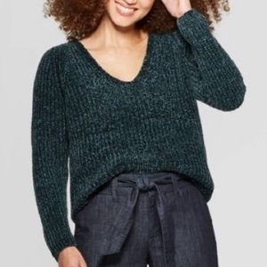 A New Day Green Chenille V-neck Sweater